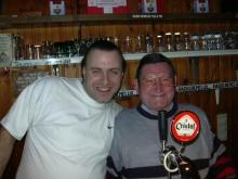 RUDY GYBELS en FRANS in de cafétaria van Radio BENELUX (maart 2004)