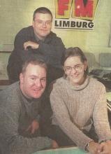 Presentatoren Jan Brouwer, Luc Van Laer & Sandra Boussu (oktober 1997)