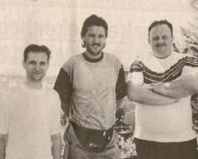 Marc Lenaerts (rechts) reisde samen met Kurt (links) in 1997 af naar Perugia om een gesprekje met Bruno Versavel in te blikken.