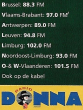 Radio Donna frequenties, oktober 1997