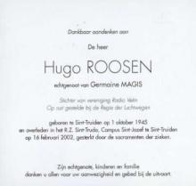 Hugo Roosen doodsprentje